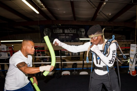 """CASSELBERRY, FLORIDA - FEBRUARY 16: Undefeated Erickson """"Hammer"""" Lubin, who is trained by Jason Galarza training during media day for his upcoming bout on March 4th, at the School of Hard Knocks Boxing Gym on February 16, 2017 in Casselberry, Florida (photo by Douglas DeFelice/Prime 360 Photography)"""